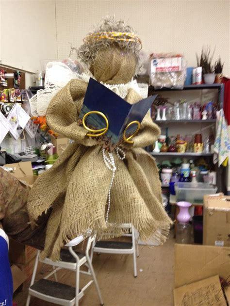 burlap angel tree topper clark flower gift shop