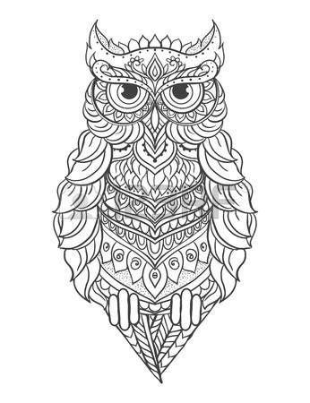 Ornament owl vector. Beautiful illustration owl for design