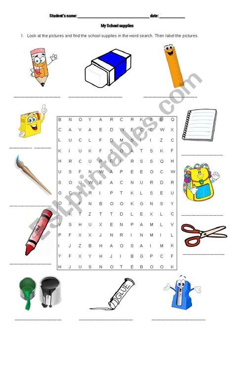 label school supplies worksheet db excelcom