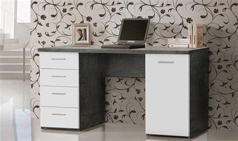 basika bureau bureau 1 porte 4 tiroirs johan béton blanc mat