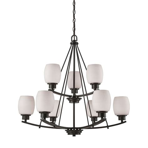 Casual Chandelier by Casual Mission 9 Light Chandelier In Rubbed Bronze