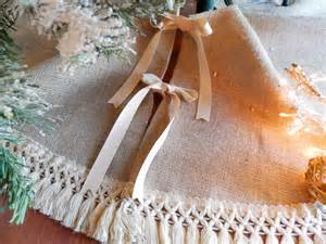 burlap christmas 40 52 tree skirt with fringe by madeinburlap