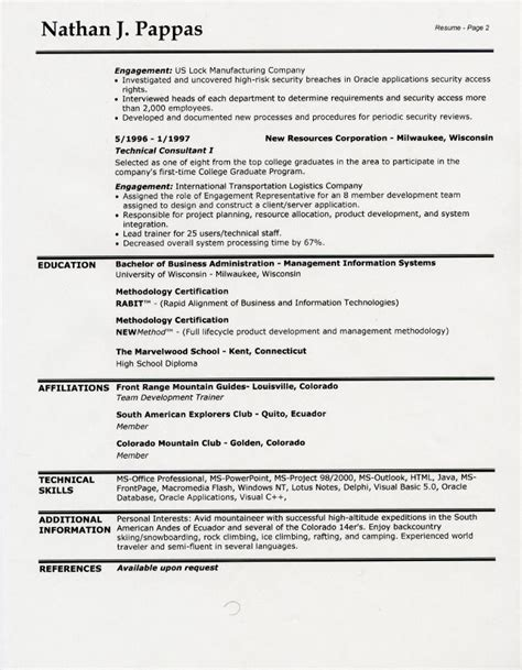 two page resume name on both pages sle resume headings sle resume