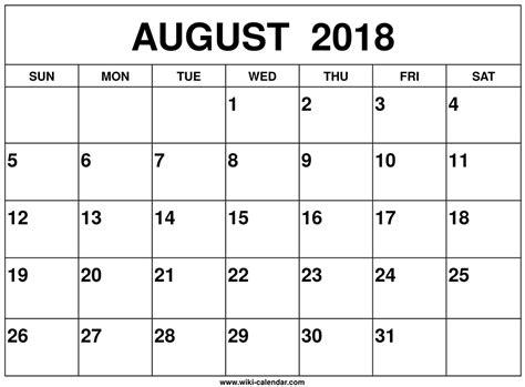 august calendar template august 2018 calendar printable