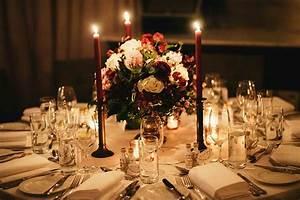 Lea Jeremy39s Elegant Candlelit Burgundy Wedding