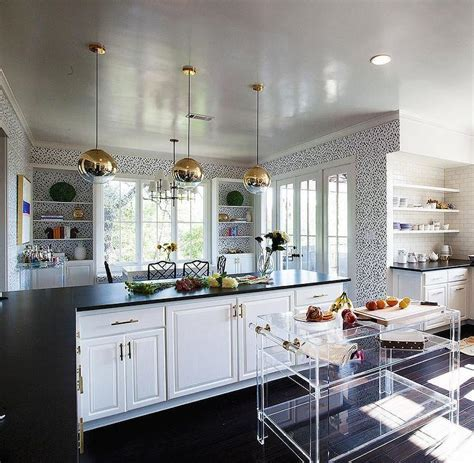 Freestanding Acrylic Kitchen Island with Brass Trim