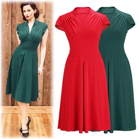 Sexy V Neck Retro Vintage Dress 50s Swing Dress Rockabilly ...
