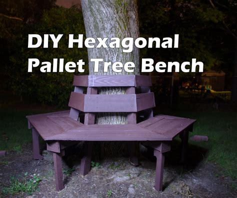 diy hexagonal tree bench  wood pallets  pallet wood