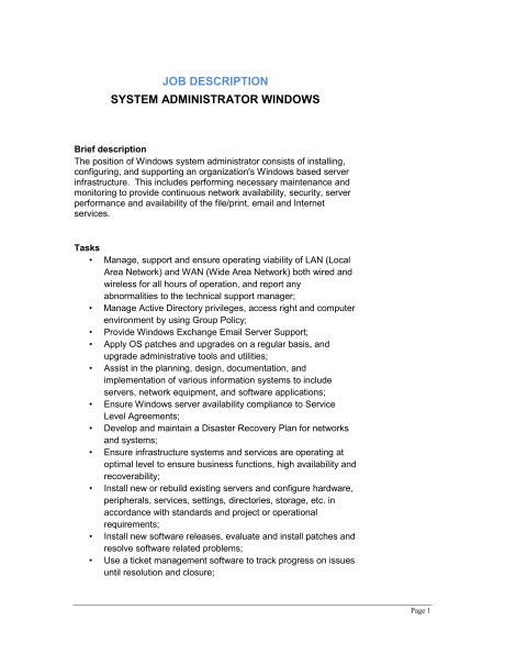 System Administrator Windows Job Description - Template