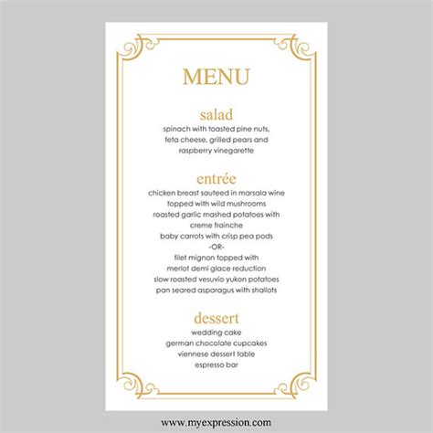 mariage menu carte modele gold frame fleuri telechargement