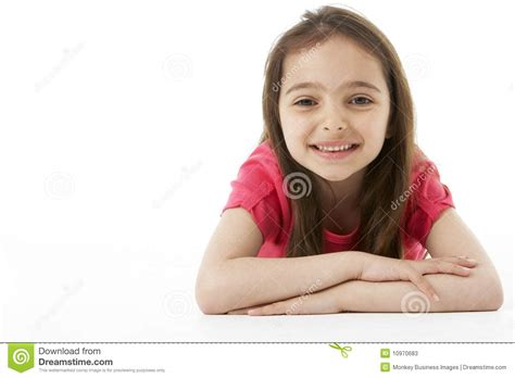 Girl Laying on Stomach stock image. Image of camera, space ...