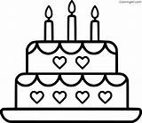 Cake Birthday Coloring Simple 3rd sketch template