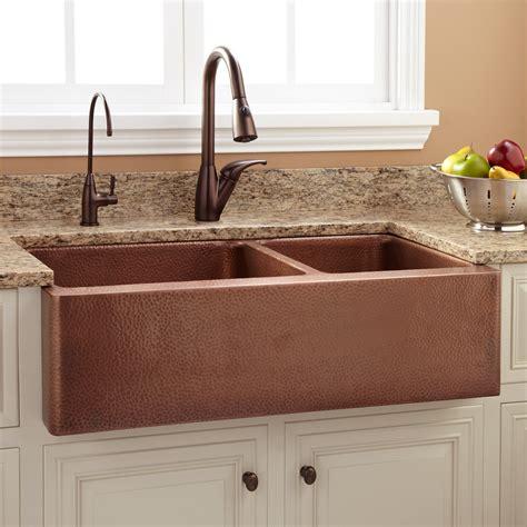 kitchen sink faucet 36 quot tegan 70 30 offset bowl copper farmhouse sink