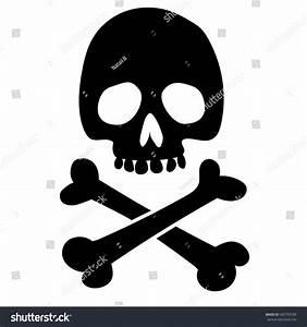Evil Black Silhouette Skull Crossbones Pirate Stock Vector ...