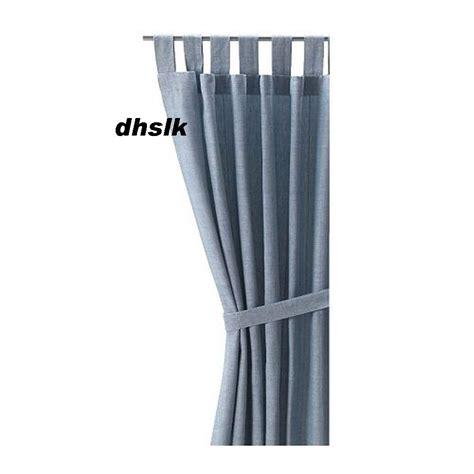 Ikea Lenda Curtains Shrinkage by Ikea Lenda Curtains W Tie Backs Light Blue Cotton 98 Quot Drapes