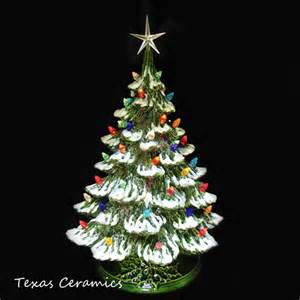 drifting snow ceramic christmas tree 18 tall green base color lights texasceramics seasonal