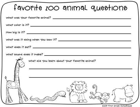 zoo animals writing teaching field trip