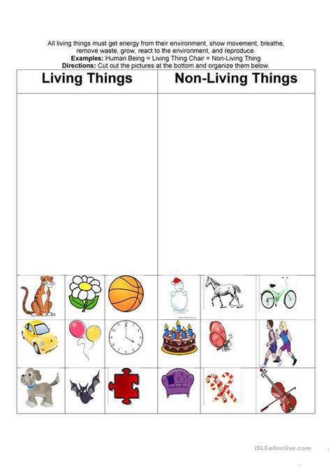 living nonliving  worksheet  esl printable