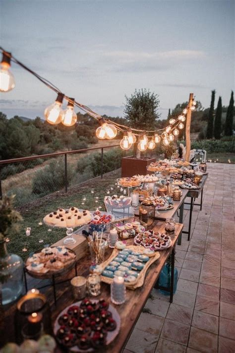rustic wedding dessert table display ideas