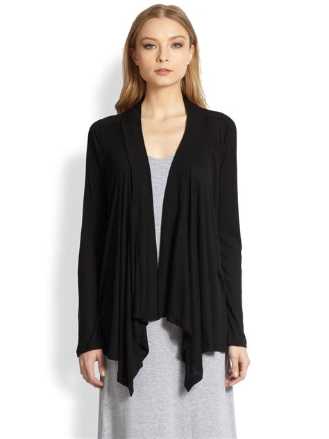 Draped Cardigans For - lyst splendid asymmetrical draped cardigan in black