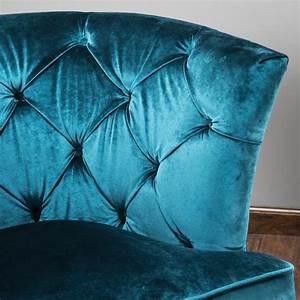 Anabella Teal Blue Velvet Tufted Sofa Chair GDF Studio