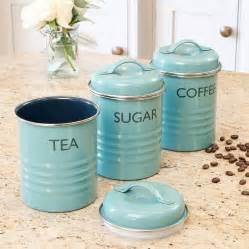fashioned kitchen canisters vintage blue tea coffee sugar canister set by dibor