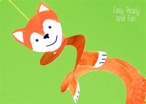 paper plate fox crafts  kids easy peasy  fun