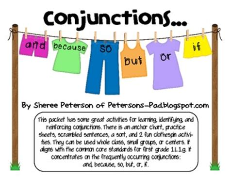conjunctions   grade  sheree peterson tpt