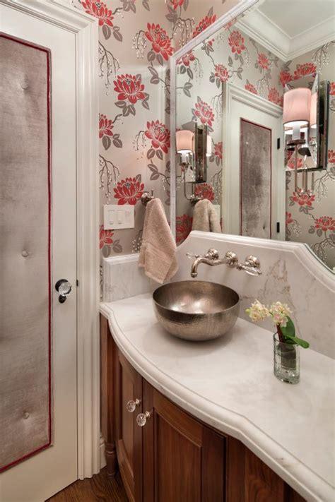 charming floral powder room  hammered nickel vessel