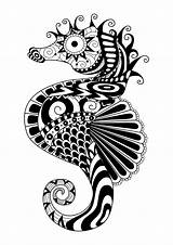 Zentangle Coloring Pages Adult Horse Sea Animals Adults Printable Animal Colouring Doodle Books Mandala Seahorse Simple Mandalas Drawings Designs Nggallery sketch template