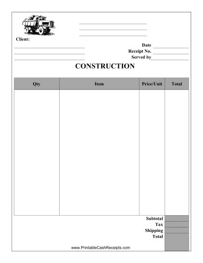 construction receipt      carpenter