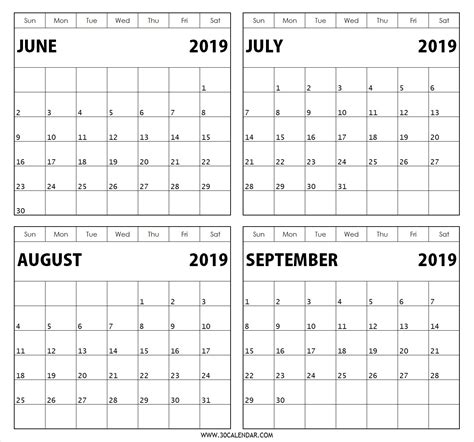 Blank Calendar Template July And August 2019