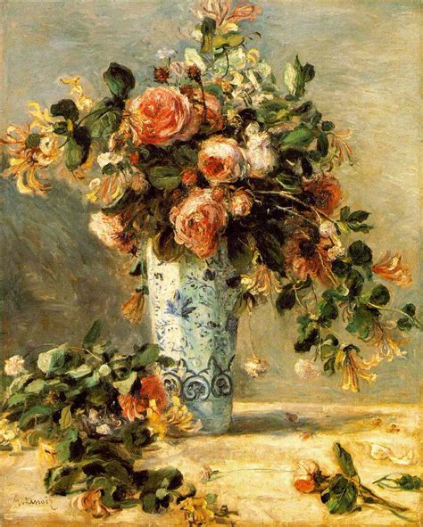 Renoir Roses And Jasmine In A Delft Vase