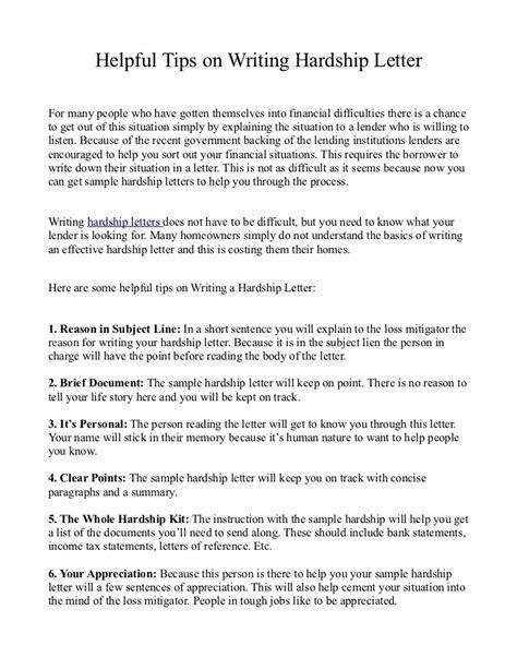 helpful tips  writing hardship letter