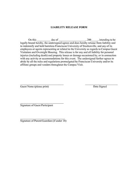 liability release form template  printable documents