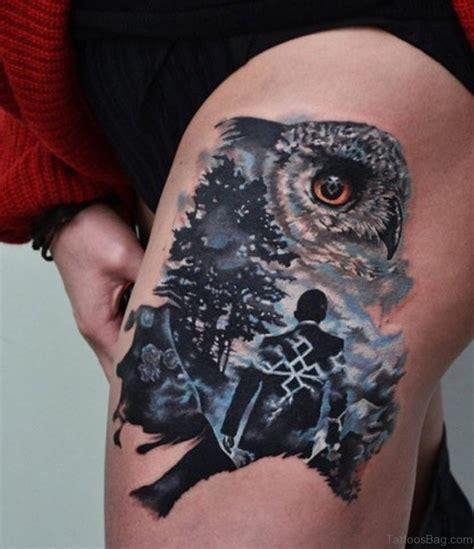 wonderful owl tattoos  thigh