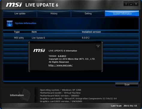 Flash Utility for MSI: MSI Live Update 6.0.012