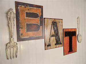 kitchen wall decor eat word sign large fork and by junkintime With kitchen colors with white cabinets with large metal letter wall art
