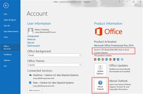 Office 365 Outlook Version Support by Outlook Version Numbers