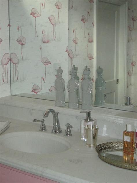 Glamorous Florida Bathroom by The Glam Pad Fabulous Flamingo Wallpaper