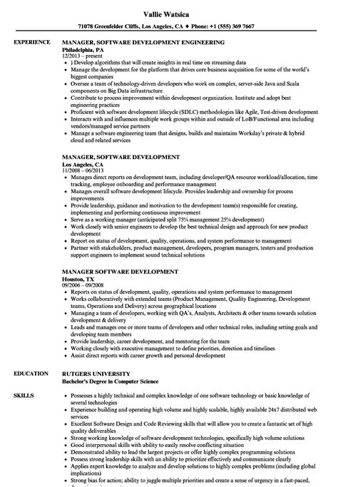 Software Development Manager Resume by Manager Software Development Resume Sles Velvet