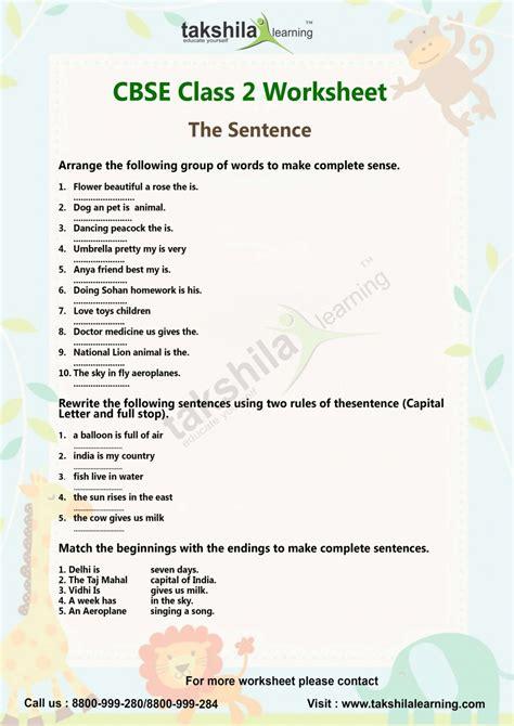 cbse class  english worksheet lessons  sentence