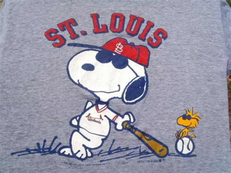 vintage  gray st louis cardinals snoopy rayon