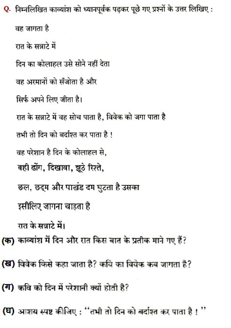 cbse class  hindi   question paper saii