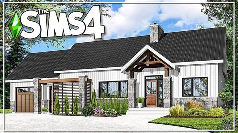Large modern styled ranch with open floor plan, 4 bedrooms, 6 horse stalls and much more. REAL TO SIMS: MODERN RANCH HOME    The Sims 4: Speed Build (NO CC) (With images)   Modern ranch ...