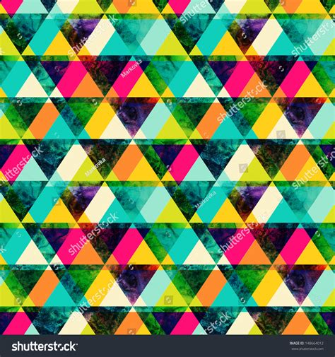watercolor triangles seamless pattern modern hipster stock