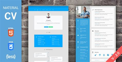 material cv resume by deviserweb themeforest