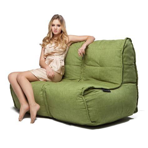 Bean Bag Loveseat by 2 Seater Green Sofa Designer Bean Bag Green