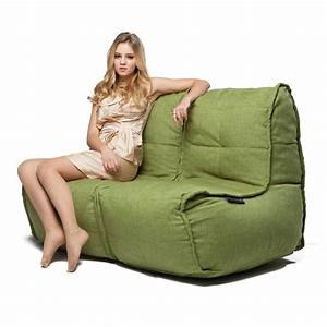 2 seater green sofa designer bean bag couch green With beanie couch