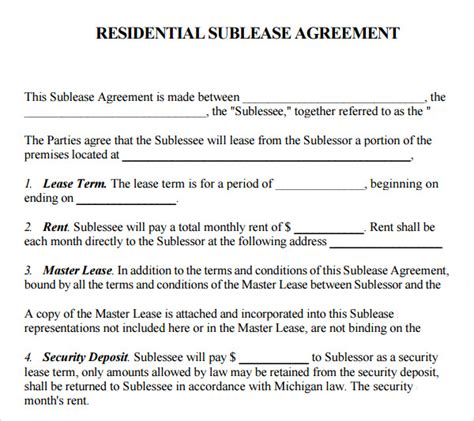 sublease template 23 sle free sublease agreement templates to sle templates